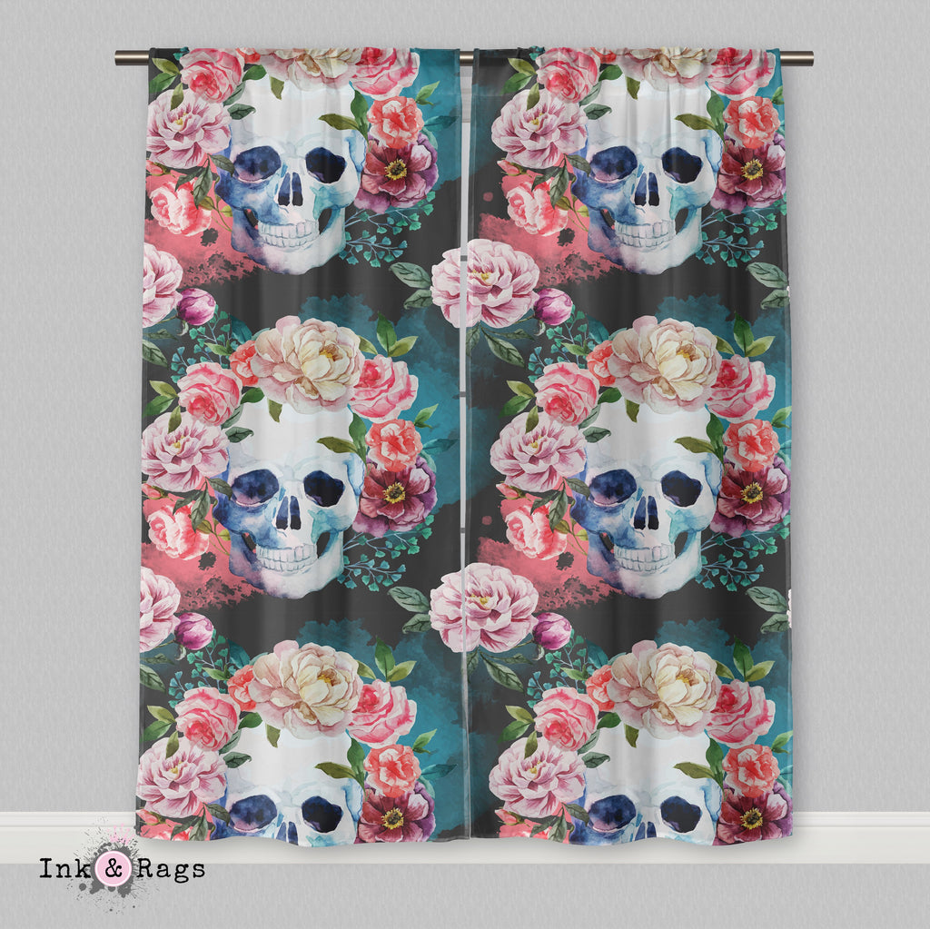 Green Watercolor Skull Curtains