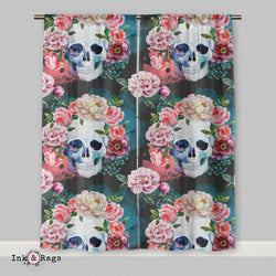 Green Watercolor Skull Curtains or Sheers