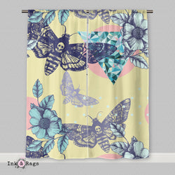 Yellow Death Moth Skull Curtains