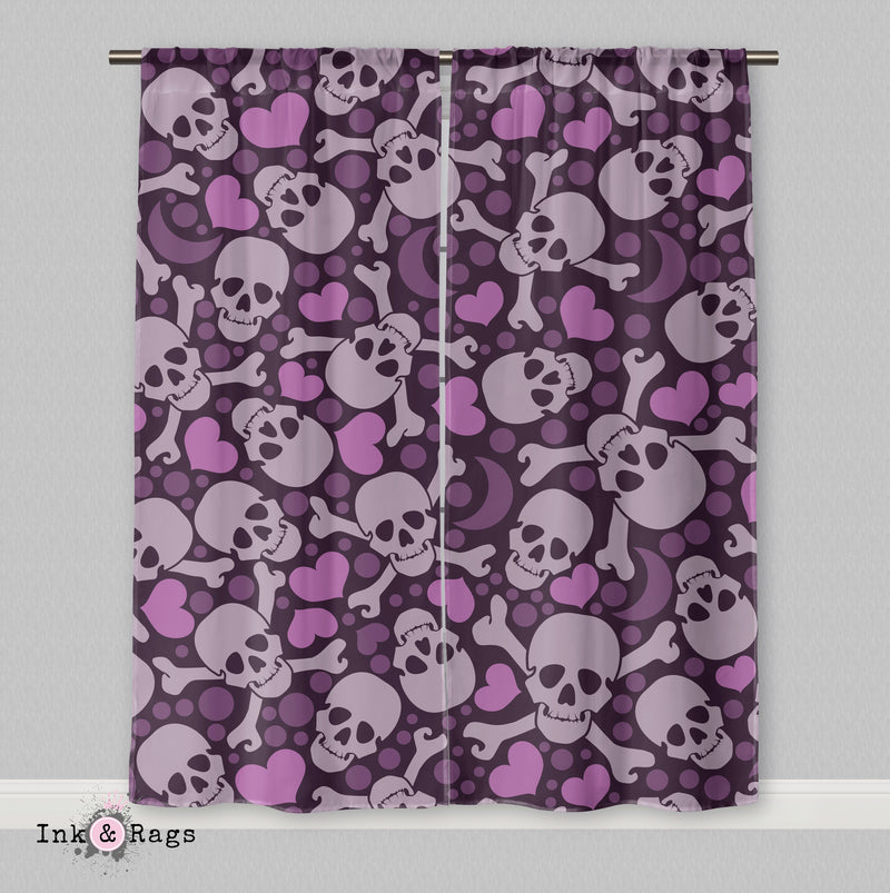 Purple Heart Skull Curtains
