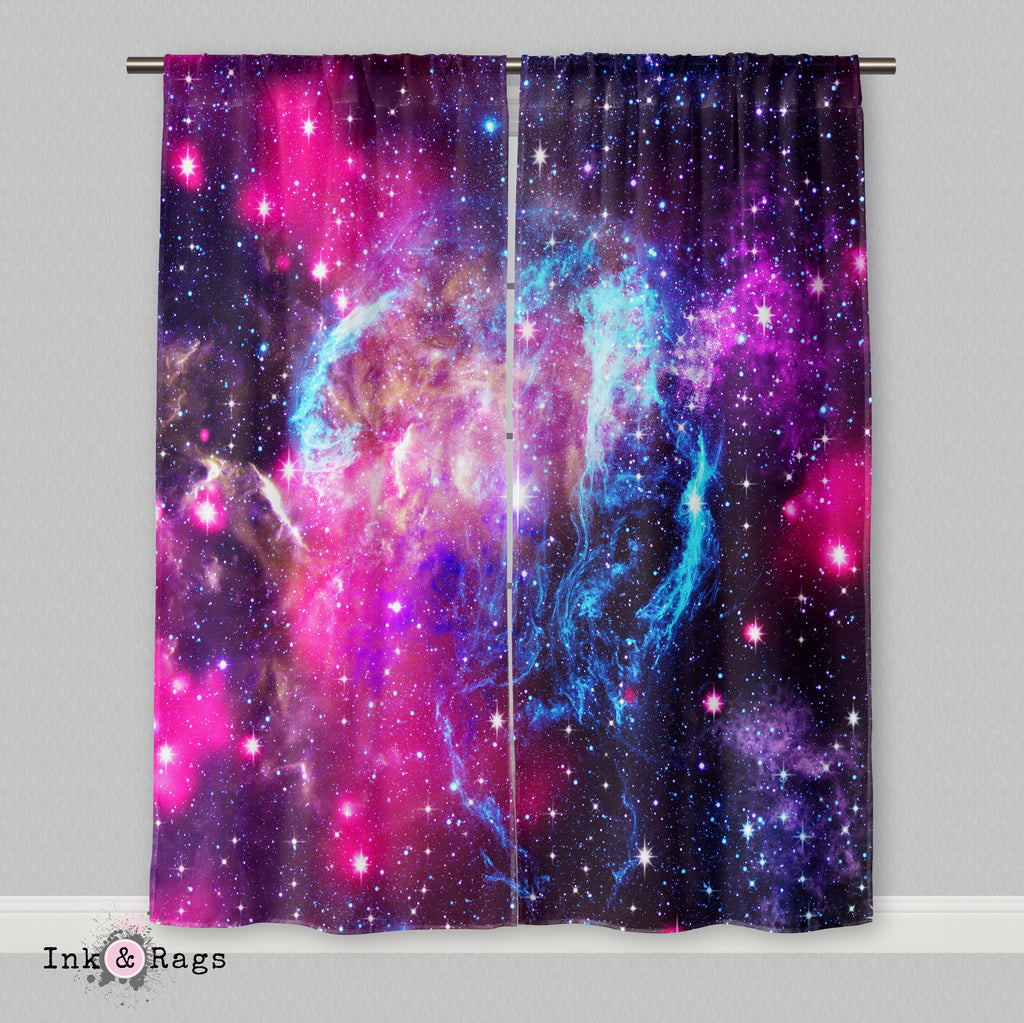 Pink and Blue Nebula Galaxy Curtains