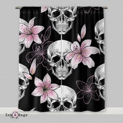 Pink Lily Skull Curtains or Sheers