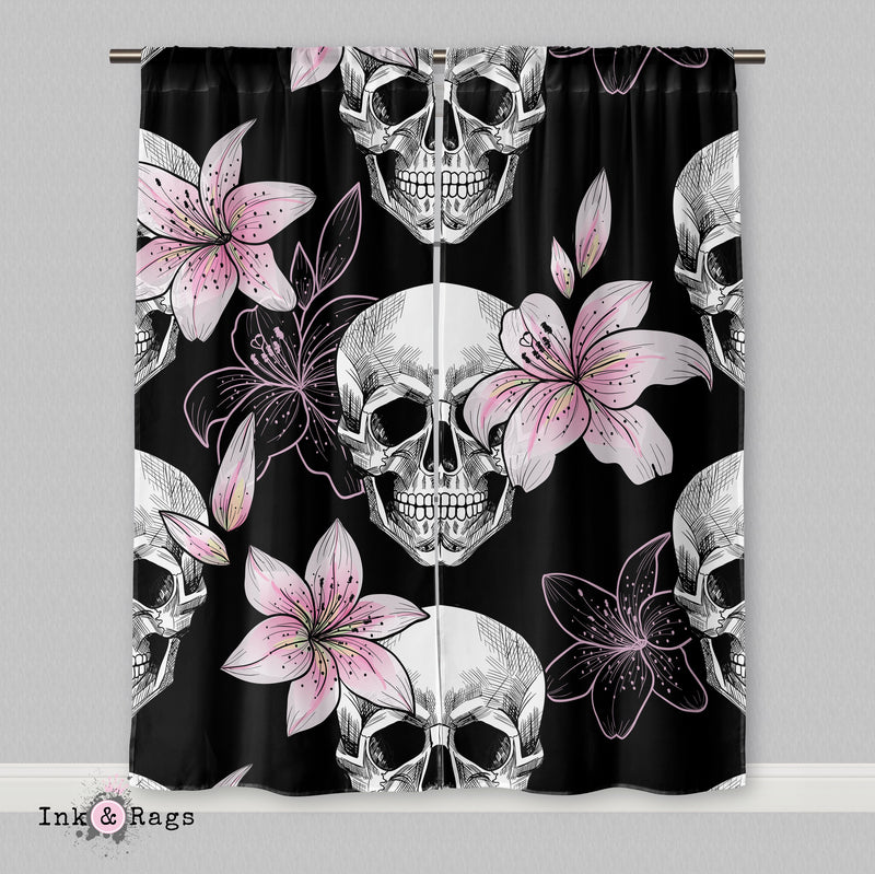 Pink Lily Skull Curtains
