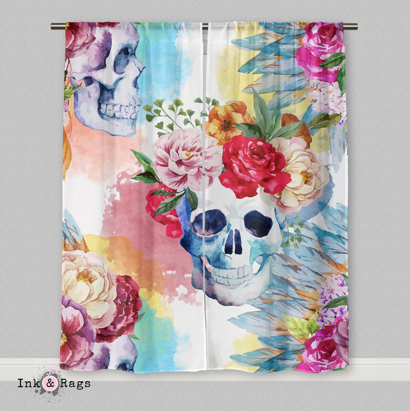 Bright Watercolor Skull and Flower Native American Indian Headdress Curtains or Sheers