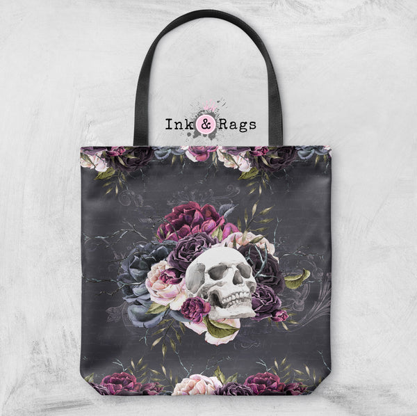 Forget Me Not Skull and Rose Casual Tote OR Cosmetic Pouches