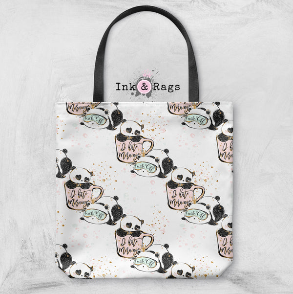 ADULT Not a Morning Panda Casual Tote OR Cosmetic Pouches