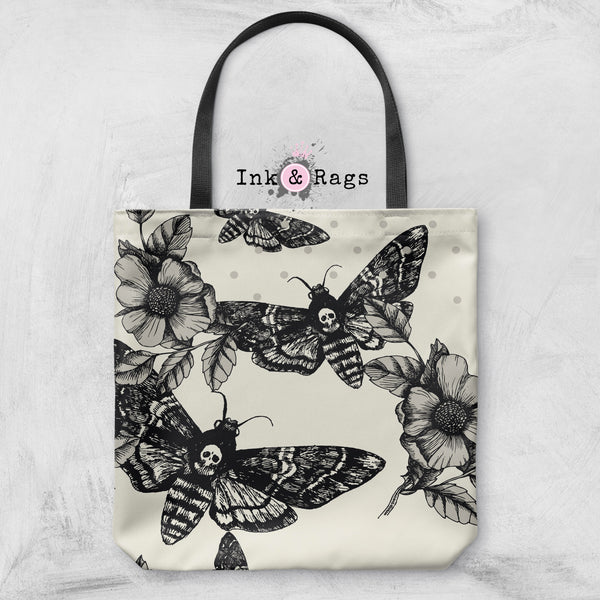 Death Moth and Flower Casual Tote OR Cosmetic Pouches