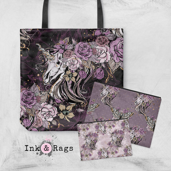 Purple Rose Unicorn Skull and Death Moth Casual Tote OR Cosmetic Pouches