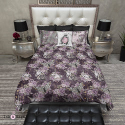 Purple Rose Unicorn Skull and Death Moth Bedding