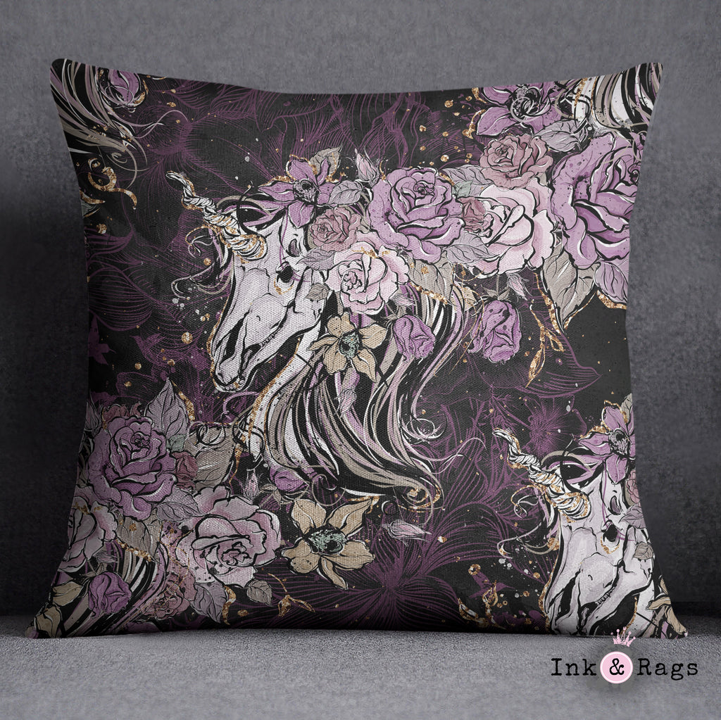 Purple Rose Unicorn Skull and Death Moth Decorative Throw Pillow Cover