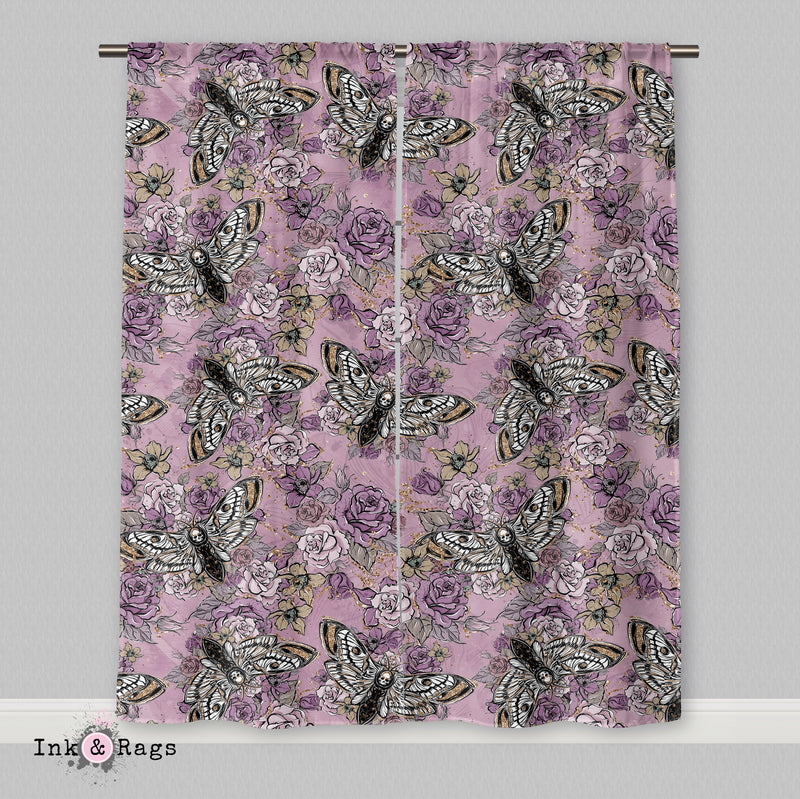 Purple Rose Unicorn Skull and Death Moth Curtains or Sheers