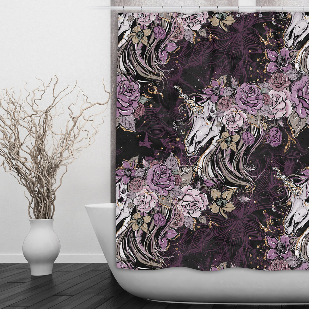 Purple Rose Unicorn Skull and Death Moth Shower Curtains and Optional Bath Mats
