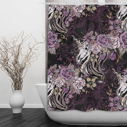 Purple Rose Unicorn Skull and Death Moth Shower Curtains and Bath Mats