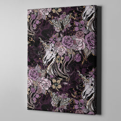 Purple Rose Unicorn Skull and Death Moth Gallery Wrapped Canvas