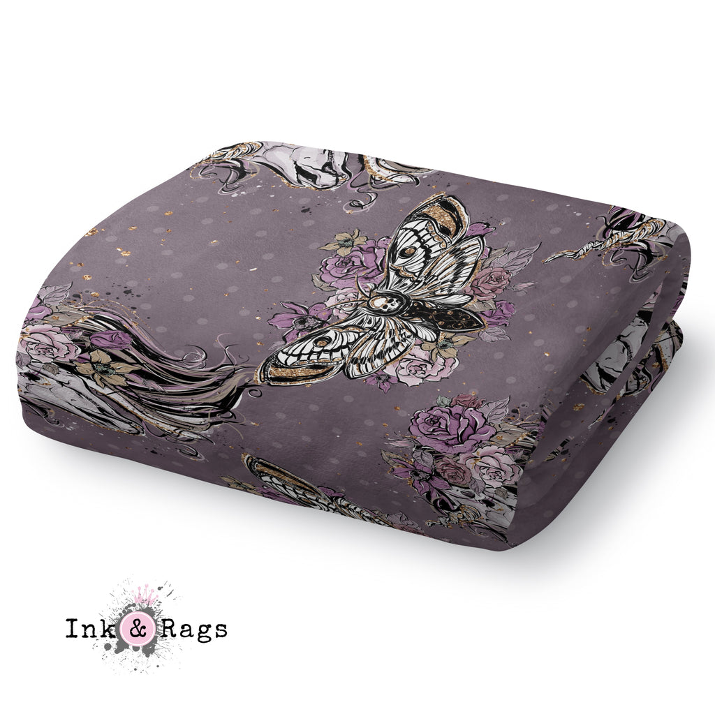 Purple Rose Unicorn Skull and Death Moth Decorative Throw and Pillow Cover Set