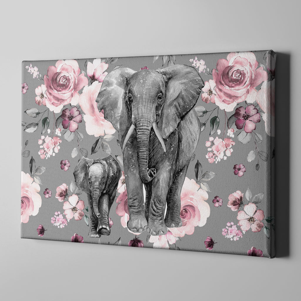 Pink Rose Mama and Baby Elephant Gallery Wrapped Canvas