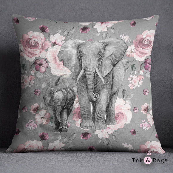 Pink Rose Mama and Baby Elephant Decorative Throw and Pillow Set
