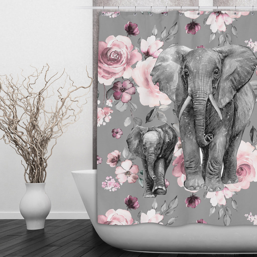 Pink Rose Mama and Baby Elephant Shower Curtains and Optional Bath Mats