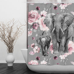 Pink Rose Mama and Baby Elephant Shower Curtain