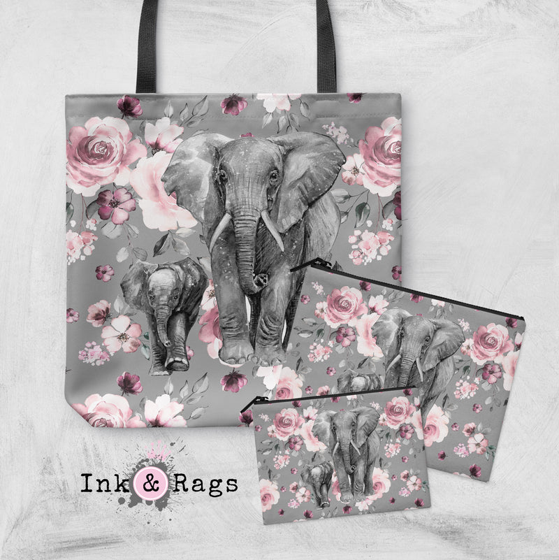 Pink Rose Mama and Baby Elephant Casual Tote OR Cosmetic Pouches