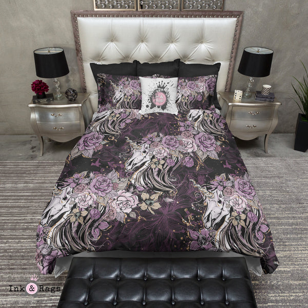 Purple Rose Unicorn Skull Bedding