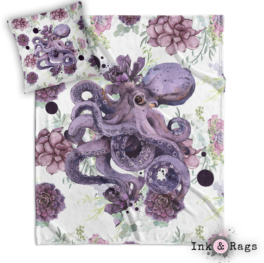 Succulent Octopus Ink Decorative Throw and Pillow Cover Set