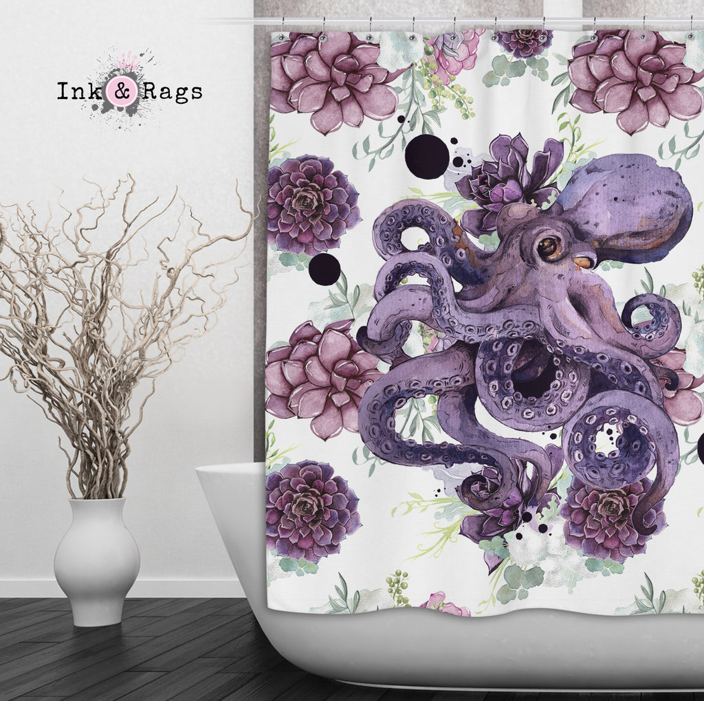 Succulent Octopus Ink Shower Curtains and Optional Bath Mats