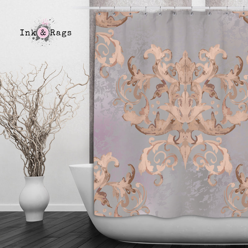Dusk Watercolor Victorian Damask Shower Curtains and Bath Mats