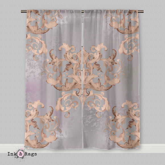 Dusk Watercolor Victorian Damask Curtains or Sheers