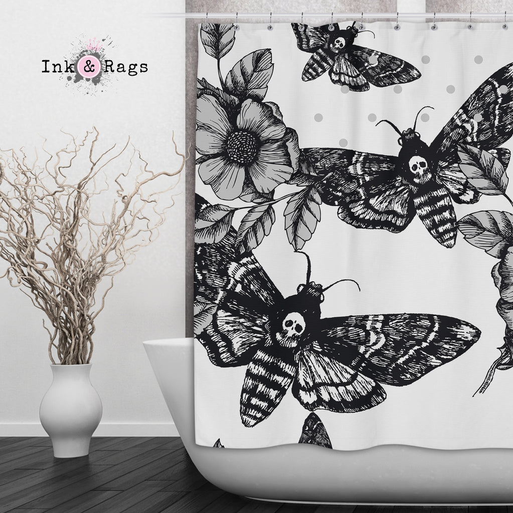 Death Moth and Flower Shower Curtains and Optional Bath Mats