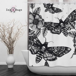 Death Moth and Flower Shower Curtains and Bath Mats