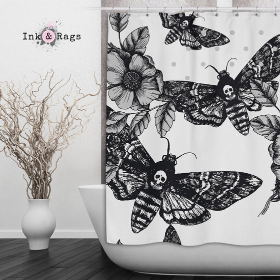 Death Moth and Flower Shower Curtain WHITE