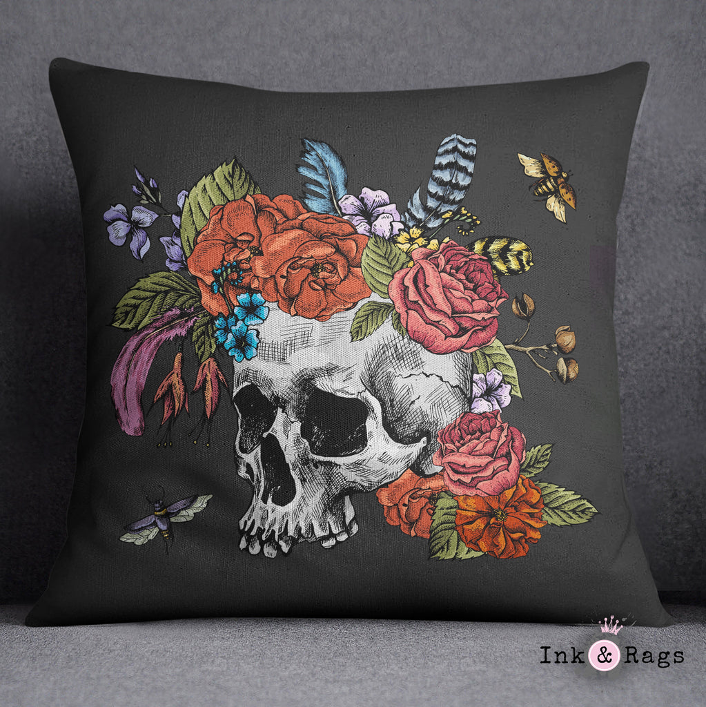 Botanical Feather Bees and Skull Decorative Throw and Pillow Cover Set