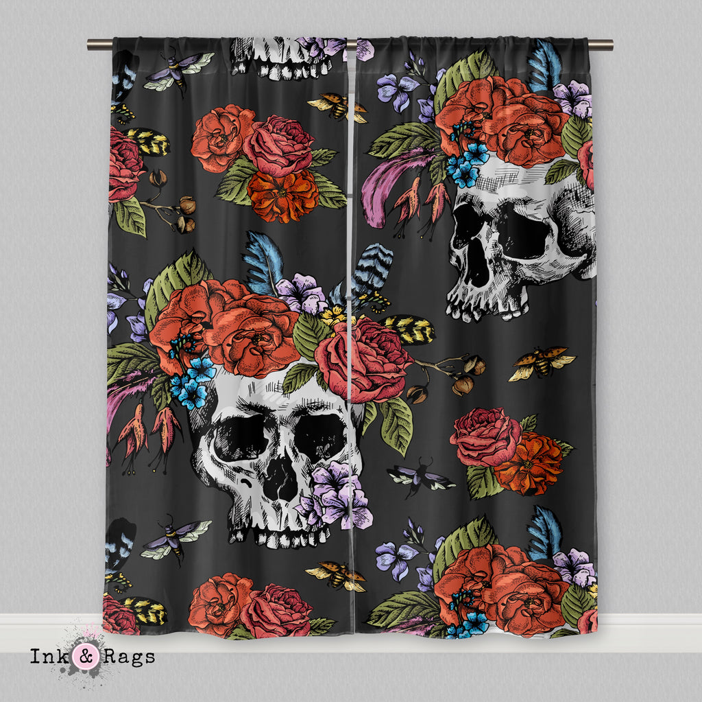 Botanical Feather Bees and Skull Curtains or Sheers