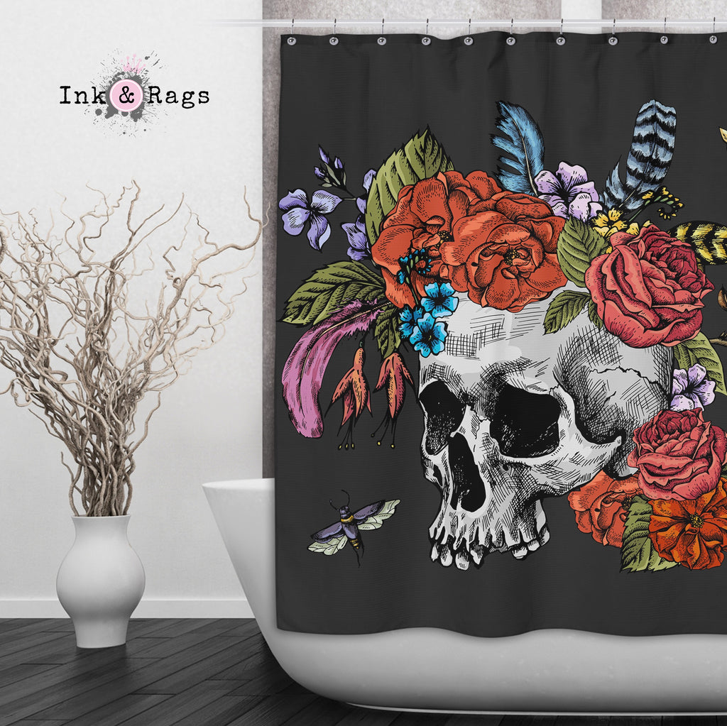 Botanical Feather Bees and Skull  Shower Curtains and Optional Bath Mats