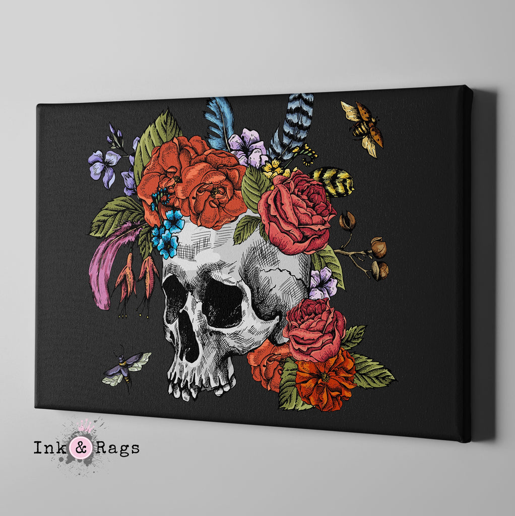 Botanical Feather Bees and Skull Gallery Wrapped Canvas