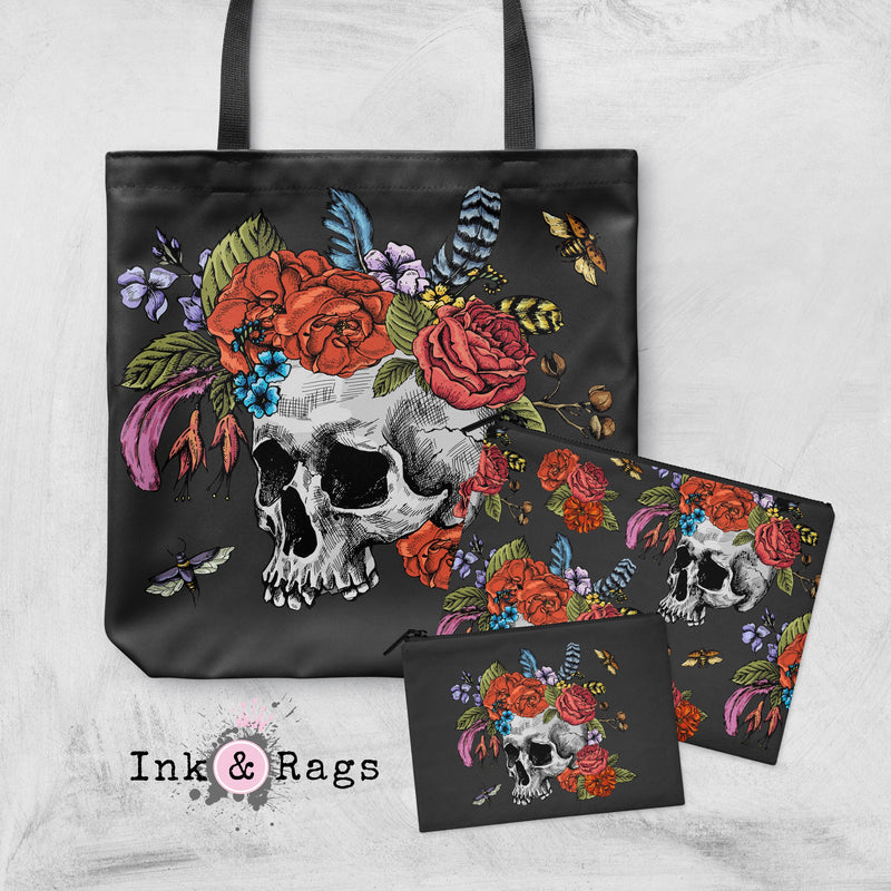 Botanical Feather Bees and Skull Casual Tote OR Cosmetic Pouches