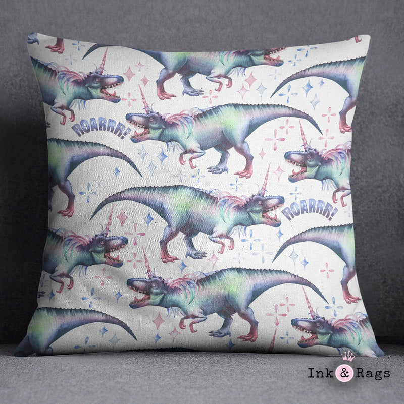 White T-Rex Dinocorn Decorative Throw and Pillow Pillow Cover Set