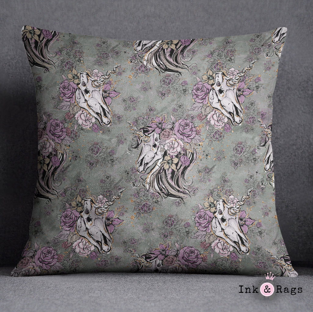 Lavender and Sage Unicorn Skull Throw Pillow
