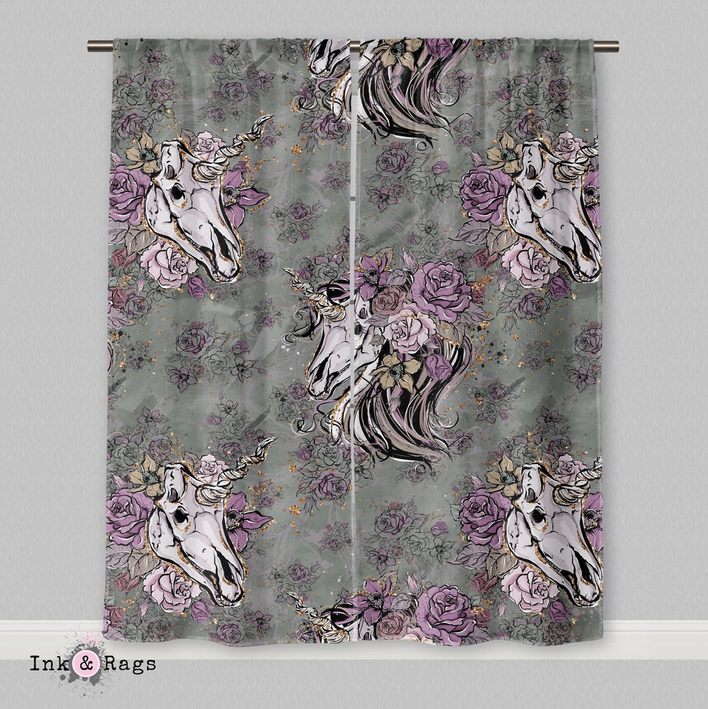 Lavender and Sage Unicorn Skull Curtains