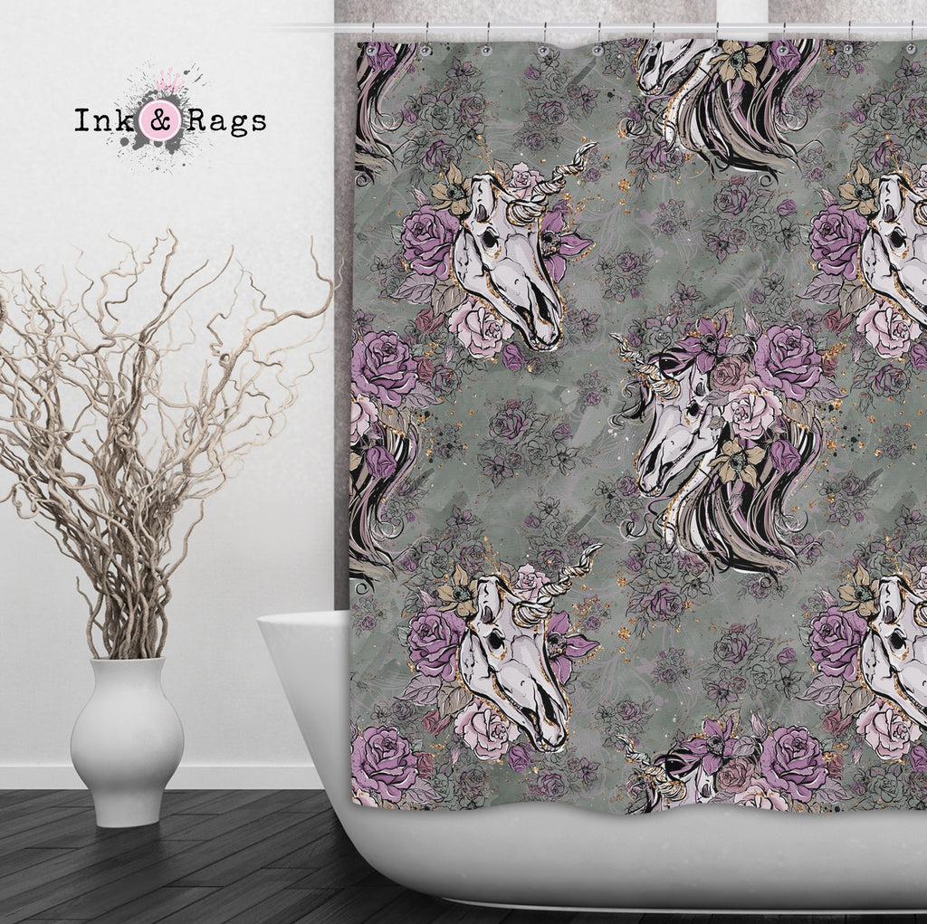 Lavender and Sage Unicorn Skull Shower Curtains and Optional Bath Mats