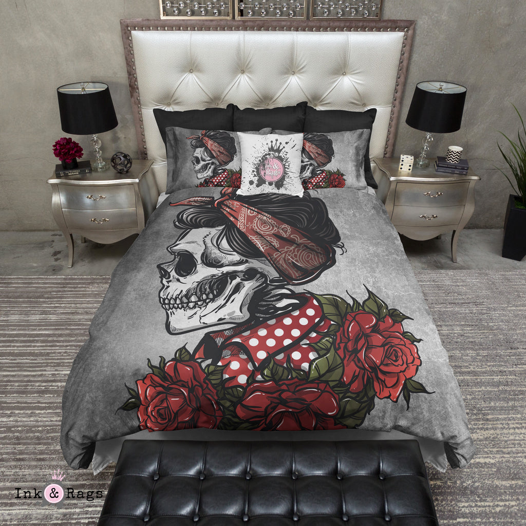 Rockabilly Concrete Betty Red Skull and Rose Bedding