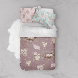 Sweet Owls Crib and Toddler Size Comforter Sets