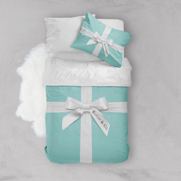 Personalized Robin Egg Blue Name & Co. Crib and Toddler Size Comforter Sets