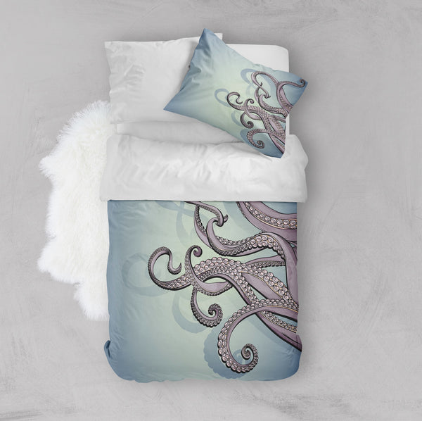 Purple Tentacle Octopus Sea Blue Green Crib and Toddler Size Comforter Sets