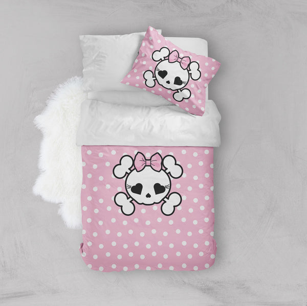 Pink Polka Dot Candy Skull Crib and Toddler Size Comforter Sets