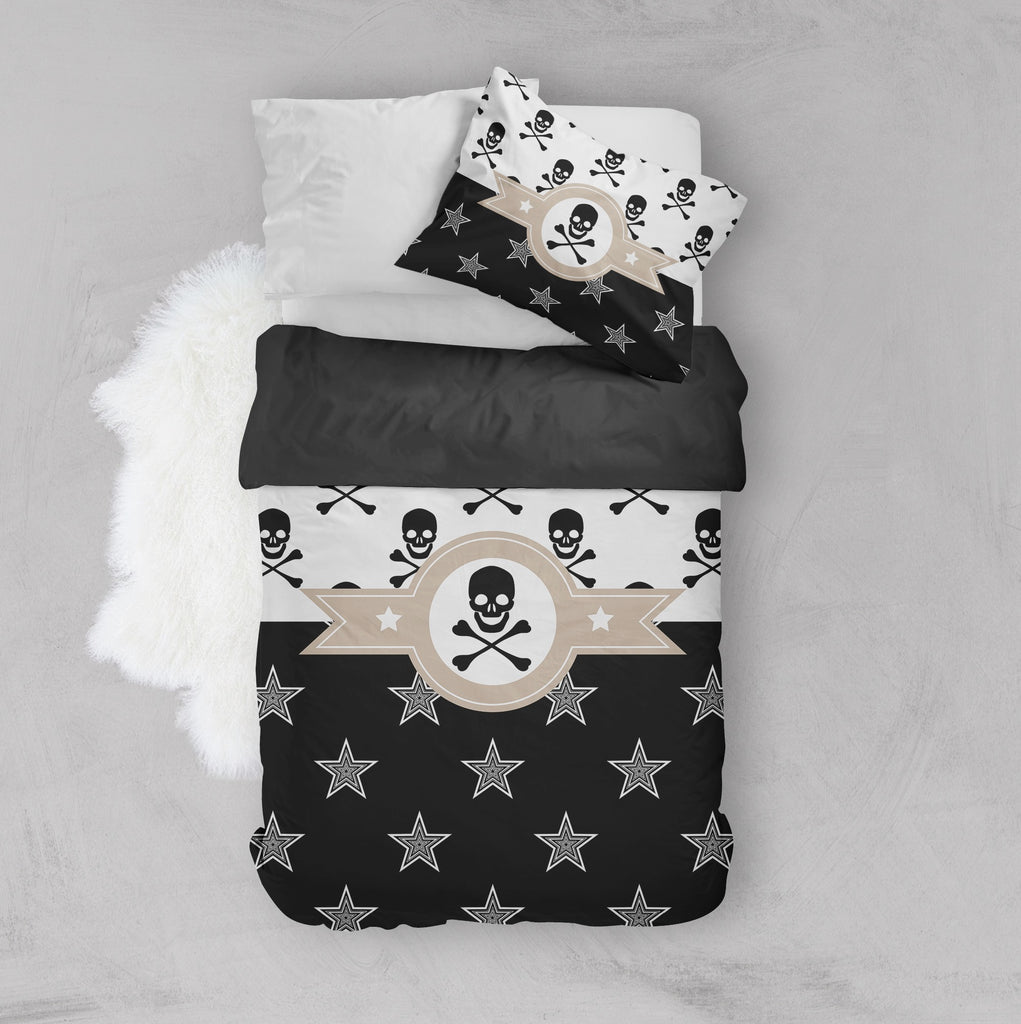 Texas Star Pirate Skull and Crossbone Crib and Toddler Bedding