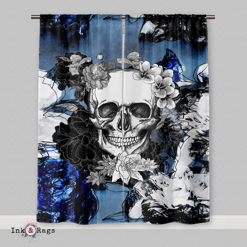 Abstract Blue Flower Skull Curtains or Sheers