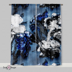 Abstract Blue Flower Curtains