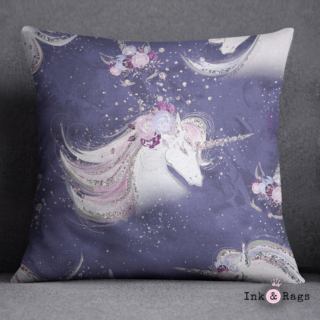Purple Unicorn Dreams Nursery Throw and Pillow Cover Set